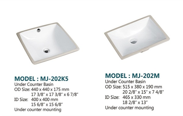 2017 Square & rectangle undermount porcelain sink price