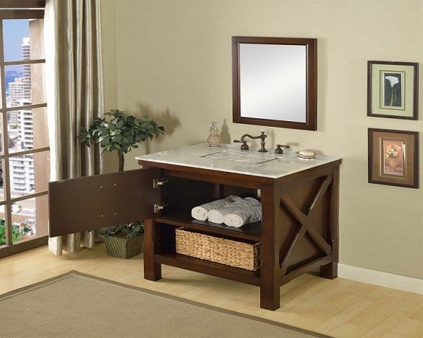 This is the pinnacle of furniture style bath vanity cabinet. It combines the casual feel of a cabin, to the functionality demanded in an urban environment. It has the most solid wood used in a furniture style vanity in its class, and completed with the hi