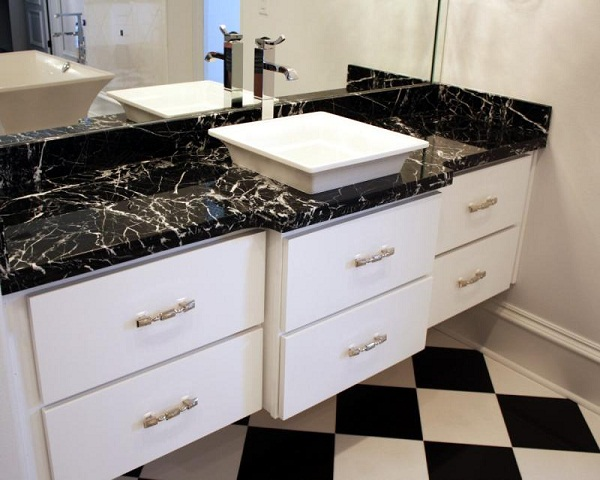 Stained nero marquina bathroom polished marble countertop rates